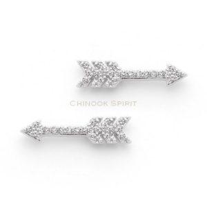 Boucles oreilles fleches argent zirconias chinook spirit