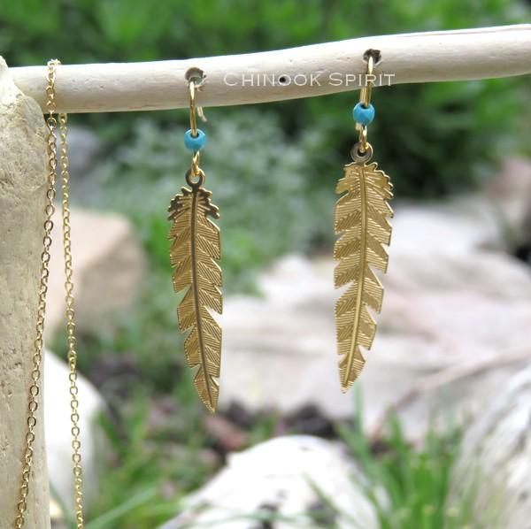 Boucles oreilles plumes acier jaune et turquoise chinook spirit 4883