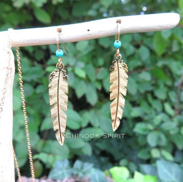 Boucles oreilles plumes acier jaune et turquoise chinook spirit 4895