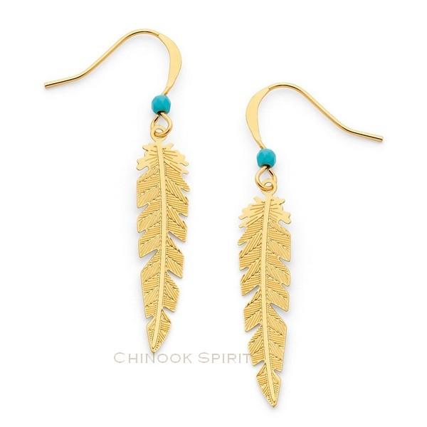 Boucles oreilles plumes acier jaune et turquoise chinook spirit