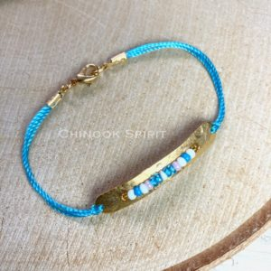 Bracelet Mohican or perles rocailles turquoise Chinook Spirit 16 cm 4797