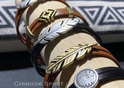 Bracelet cuir plume indien chinook spirit 3752