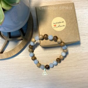 Bracelet perles bois et pierres Aigue Marine Tipi Chinook Spirit 5589