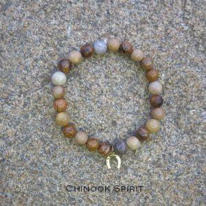 Bracelet perles bois et pierres Fer a Cheval Chinook Spirit 5184