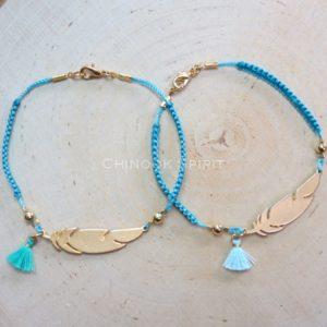 Bracelet plume IROQUOIS dore macrame turquoise Chinook Spirit 5025