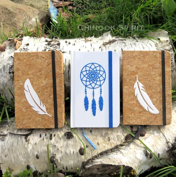 Carnet blanc blanc liege plume attrape reves bleu 4844