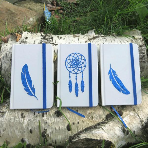 Carnet blanc plume attrape reves bleu chinook spirit 4837