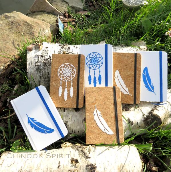 Carnet liege blanc plume attrape reves bleu chinook spirit 4850