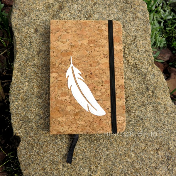 Carnet liege blanc plume bas chinook spirit 4819