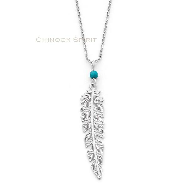Collier plume acier et turquoise Chinook spirit