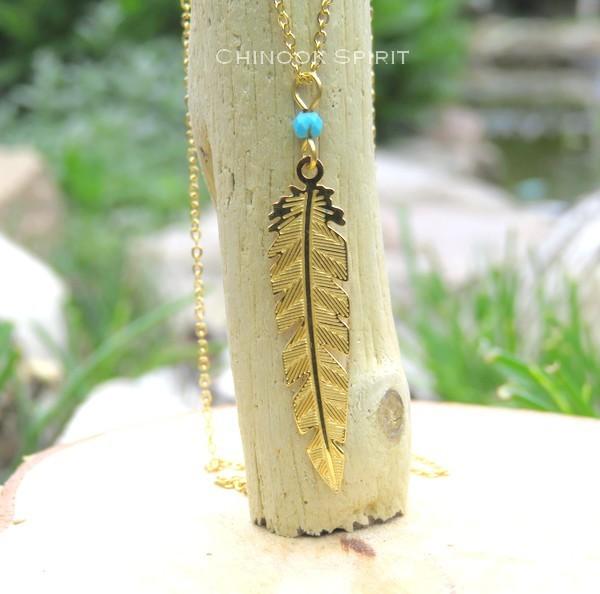 Collier plume acier jaune et turquoise Chinook spirit 4885
