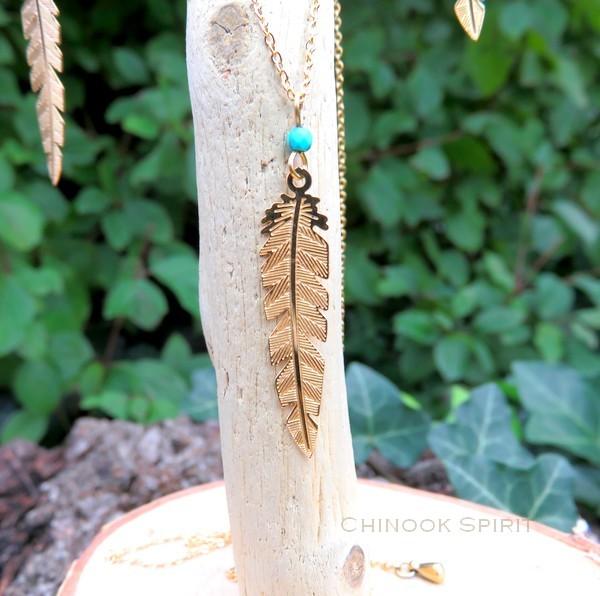 Collier plume acier jaune et turquoise Chinook spirit 4899