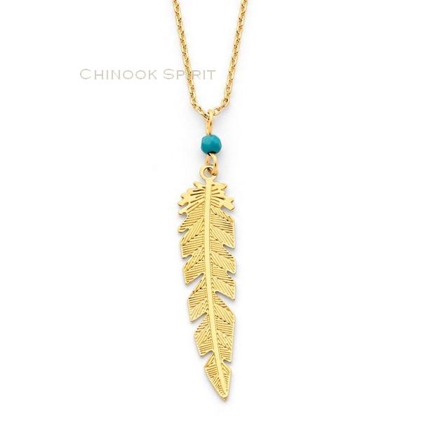 Collier plume acier jaune et turquoise Chinook spirit