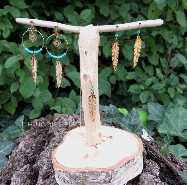 Parure plumes acier jaune et turquoise chinook spirit 4890