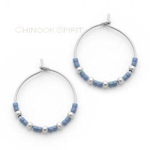 boucles oreilles creoles acier et miyuki bleu chinook spirit