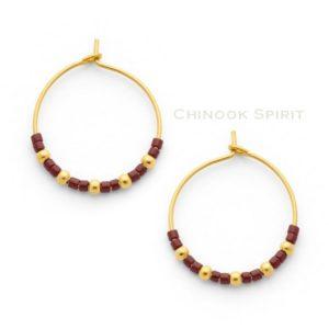 boucles oreilles creoles acier jaune et miyuki rouge GRENAT chinook spirit