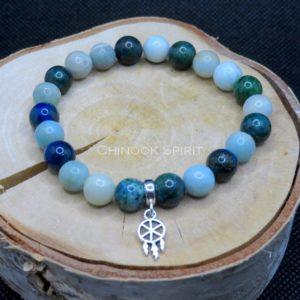 Bracelet 22 perles Chrysocolle Amazonite Chinook Spirit 5561