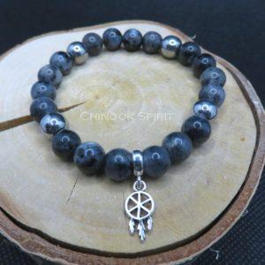 Bracelet 22 perles larvikite hematite Chinook Spirit 5552