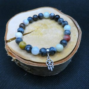 Bracelet 23 perles amazonite Larvikite Chinook Spirit 5544