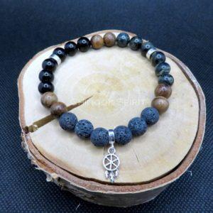 Bracelet 24 perles Pierres de lave Tourmaline Jaspe Chinook Spirit 5575