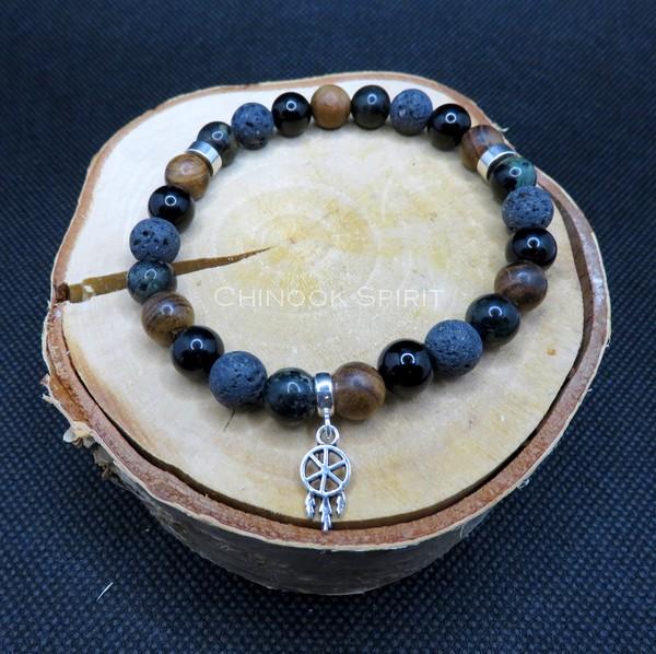 Bracelet 24 perles Pierres de lave Tourmaline Jaspe Chinook Spirit 5578