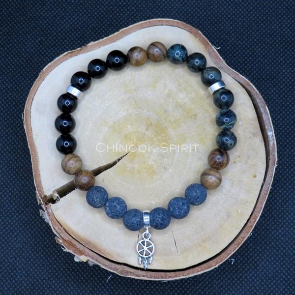 Bracelet 24 perles pierre lave Tourmaline Jaspe Chinook Spirit 5576