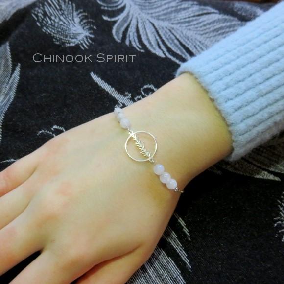 Bracelet Anneau feuillage Pierres de lune Chinook Spirit 5604