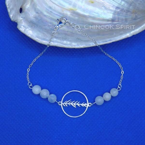 Bracelet Anneau feuillage Pierres de lune Chinook Spirit 5621