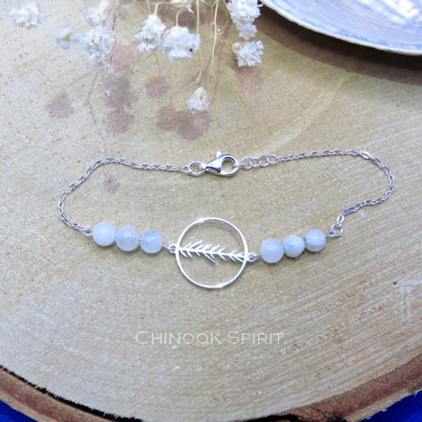 Bracelet Anneau feuillage Pierres de lune Chinook Spirit 5660