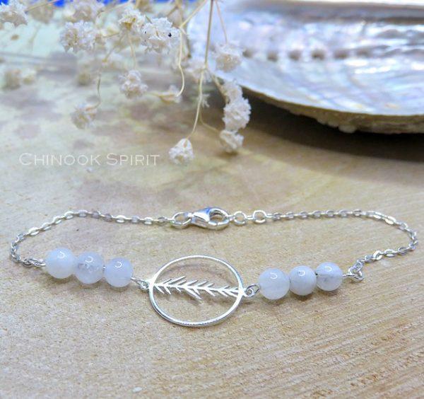 Bracelet Anneau feuillage Pierres de lune Chinook Spirit 5663