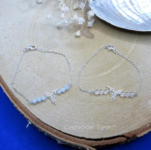 Bracelet Colibri Argent Aigue marine et Cristal de roche Chinook Spirit 5646