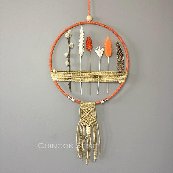 Attrape reves fleurs sechees macrame Phoenix Chinook Spirit
