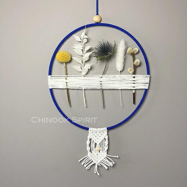 12 Attrape reves fleurs sechees macrame clair de lune Chinook Spirit