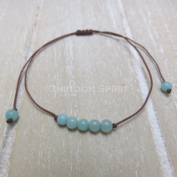 Bracelet Amazonite cordon marron pierres naturelles Chinook Spirit 5322