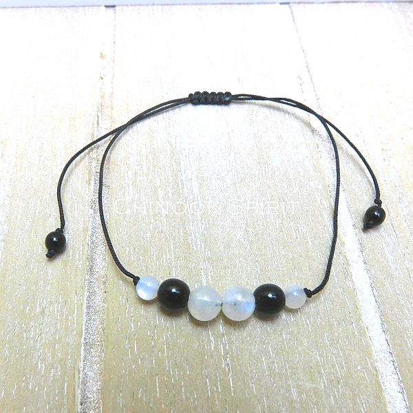 Bracelet Pierre de lune cordon noir pierres naturelles Chinook Spirit 5312