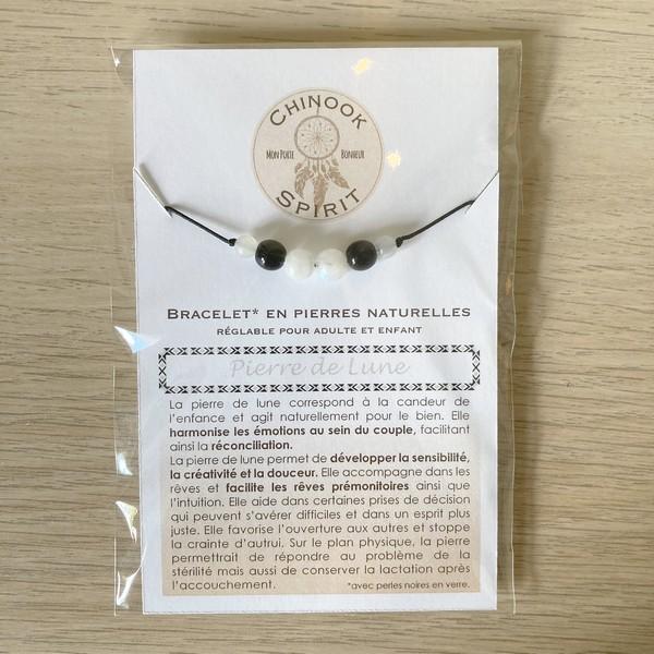 Bracelet Pierre de lune cordon noir pierres naturelles Chinook Spirit 8003