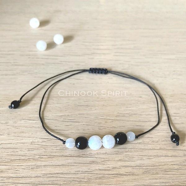 Bracelet Pierre de lune cordon noir pierres naturelles Chinook Spirit 8005