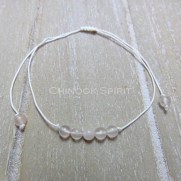 Bracelet Quartz rose cordon blanc pierres naturelles Chinook Spirit 5339