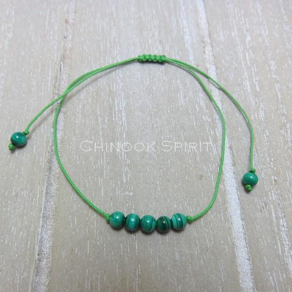 Bracelet malachite cordon vert pierres naturelles Chinook Spirit 5330